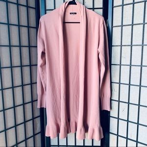 Vila Milano pink open front ruffle cardigan sz M